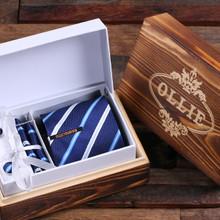 Groomsmen Bridesmaid Gift Personalized Tie Clip Dark Blue Striped Tie and Wood Box Boy Friend Gift Dad Christmas Groomsmen Mens Gift