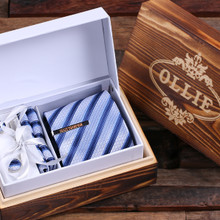 Groomsmen Bridesmaid Gift Personalized Tie Clip Light Blue Striped Tie and Wood Box Boy Friend Gift Dad Christmas Groomsmen Mens Gift