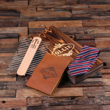 Groomsmen Bridesmaid Gift Personalized Red White and Blue Striped Tie Tie Clip Rack Leather Journal Boyfriend Gift Mens Gift Groomsmen Gift Mens Christmas Gift