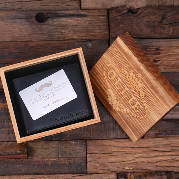 cf28f0b181ed Groomsmen Bridesmaid Gift Personalized Monogrammed Engraved Genuine Leather  Bifold Mens Wallet with Wallet Card and Wood