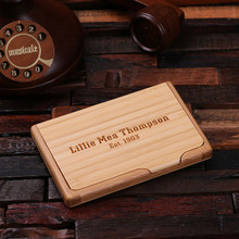 Groomsmen Bridesmaid Gift Personalized Wooden Business Card Holder