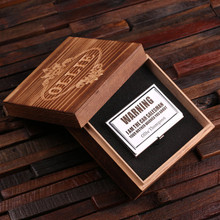 Groomsmen Bridesmaid Gift Personalized Stainless Steel Business Card Holder with Wood Gift Box