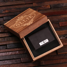 Groomsmen Bridesmaid Gift Personalized Leather Business Card Holder with Wood Gift Box