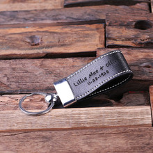 Groomsmen Bridesmaid Gift Personalized Leather Engraved Key Chain – Black Light Brown and Dark Brown