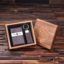 Groomsmen Bridesmaid Gift Personalized Leather Engraved Card Holder Key Chain and Wood Box