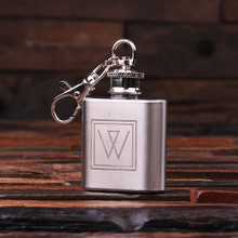 Groomsmen Bridesmaid Gift Personalized Engraved Key Chain – 1 oz. Stainless Steel Flask
