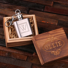 Groomsmen Bridesmaid Gift Personalized Engraved Key Chain – 1 oz. Stainless Steel Flask with Wood Box