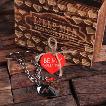 Groomsmen Bridesmaid Gift Personalized Valentines Day Double Heart Key Chains with Wood Gift Box