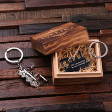 Groomsmen Bridesmaid Gift Personalized Polished Stainless Steel Key Chain – Train Conductor with Box