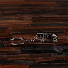 Groomsmen Bridesmaid Gift Personalized Polished Stainless Steel Key Chain – Trucker