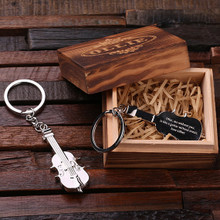 Groomsmen Bridesmaid Gift Personalized Polished Stainless Steel Key Chain – Violin with Box