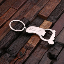Groomsmen Bridesmaid Gift Personalized Polished Stainless Steel Key Chain and Bottle Opener – Foot