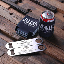 Groomsmen Bridesmaid Gift Beer Can Holder and Steel Beer Bottle Opener
