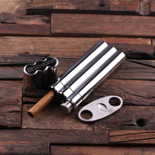 Groomsmen Bridesmaid Gift Stainless Steel Cigar Holder with Whiskey Flask and Cutters