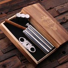 Groomsmen Bridesmaid Gift Stainless Steel Cigar Holder with Whiskey Flask Cutters and Wood Gift Box