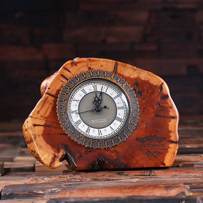 Groomsmen Bridesmaid Gift Table Cedar Wood Table Night Stand Executive Office Quartz Clock