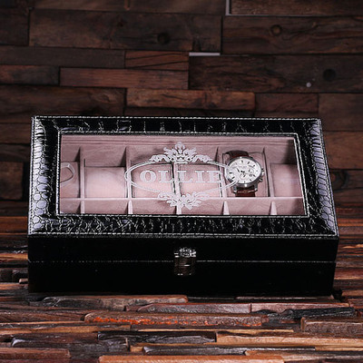 Groomsmen Bridesmaid Gift Watch Box in Black Crocodile