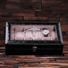 Groomsmen Bridesmaid Gift Watch Box in Black Crocodile