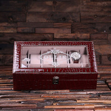 Groomsmen Bridesmaid Gift Watch Box in Burgundy Crocodile