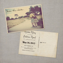 Krista - 4x6 Vintage Photo Save the Date Postcard card