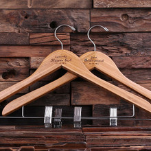 Groomsmen Bridesmaid Gift Keepsake Hanger with Clips – Natural Wood