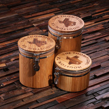 Groomsmen Bridesmaid Gift Bamboo Canisters_Set