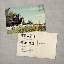 April - 4x6 Vintage Photo Save the Date Postcard card