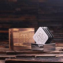 Groomsmen Bridesmaid Gift Stainless Steel Square Coasters with Wood Gift Box