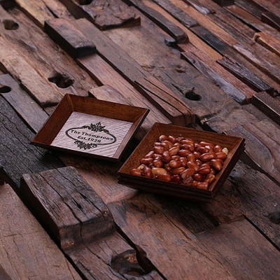 Groomsmen Bridesmaid Gift 4 pc Stacking Wooden Snack Trays