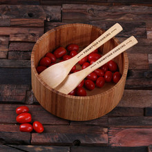 Groomsmen Bridesmaid Gift Bamboo Salad Utensils and Bowl