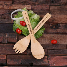 Groomsmen Bridesmaid Gift Bamboo Salad Utensils