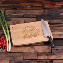 Groomsmen Bridesmaid Gift Bamboo Cutting Board – Family Seal, Monogram, Namesake (P00020)