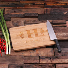 Groomsmen Bridesmaid Gift Bamboo Cutting Board – Family Seal, Monogram, Namesake (P00003)