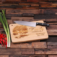 Groomsmen Bridesmaid Gift Bamboo Cutting Board – Family Seal, Monogram, Namesake (P00033)