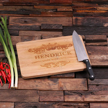 Groomsmen Bridesmaid Gift Bamboo Cutting Board – Family Seal, Monogram, Namesake (P00009)