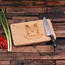 Groomsmen Bridesmaid Gift Bamboo Cutting Board – Family Seal, Monogram, Namesake (P00023)