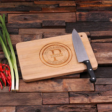 Groomsmen Bridesmaid Gift Bamboo Cutting Board – Family Seal, Monogram, Namesake (P00007)