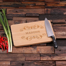 Groomsmen Bridesmaid Gift Bamboo Cutting Board – Family Seal, Monogram, Namesake (P00024)