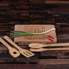 Groomsmen Bridesmaid Gift Bamboo Cutting Board with 4 Kitchen Utensils (P24869)