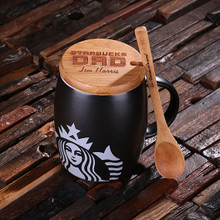 Groomsmen Bridesmaid Gift 16 oz. Ceramic Starbucks Mug with Bamboo Lid and Spoon – White Red and Black