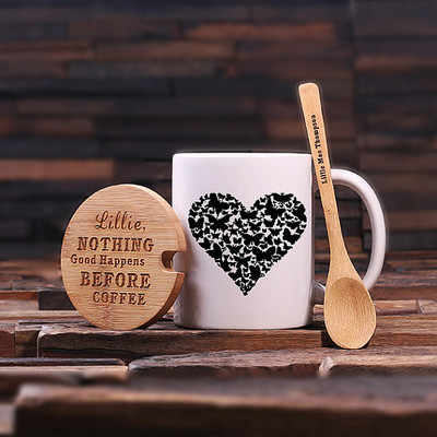 Groomsmen Bridesmaid Gift 12 oz. Coffee Mug with Lid and Teaspoon (P00048)
