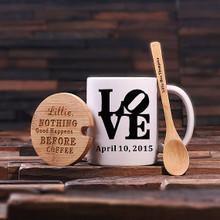 Groomsmen Bridesmaid Gift 12 oz. Coffee Mug with Lid and Teaspoon (P00019)