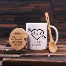 Groomsmen Bridesmaid Gift 12 oz. Coffee Mug with Lid and Teaspoon (P00010)