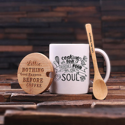 Groomsmen Bridesmaid Gift 12 oz. Coffee Mug with Lid and Teaspoon (P00002)