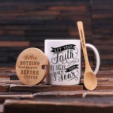 Groomsmen Bridesmaid Gift 12 oz. Coffee Mug with Lid and Teaspoon (P00034)