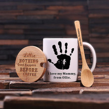 Groomsmen Bridesmaid Gift 12 oz. Coffee Mug with Lid and Teaspoon (P00049)