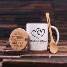 Groomsmen Bridesmaid Gift 12 oz. Coffee Mug with Lid and Teaspoon (P00058)