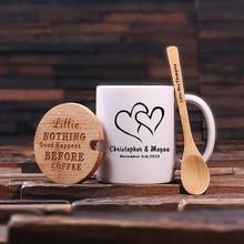 Groomsmen Bridesmaid Gift 12 oz. Coffee Mug with Lid and Teaspoon (P00058)