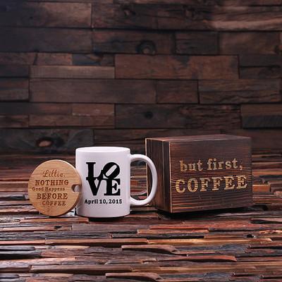 Groomsmen Bridesmaid Gift 12 oz. Coffee Mug with Lid and Tea Box (P00019)