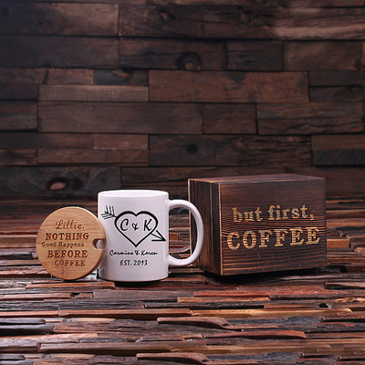 Groomsmen Bridesmaid Gift 12 oz. Coffee Mug with Lid and Tea Box (P00010)